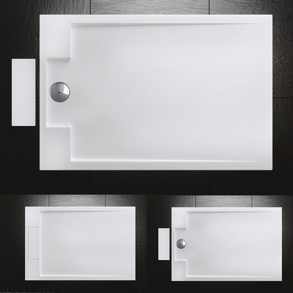 True Stone Cast Rectangle Concealed Waste Shower Tray Free Waste Trap Various Sizes