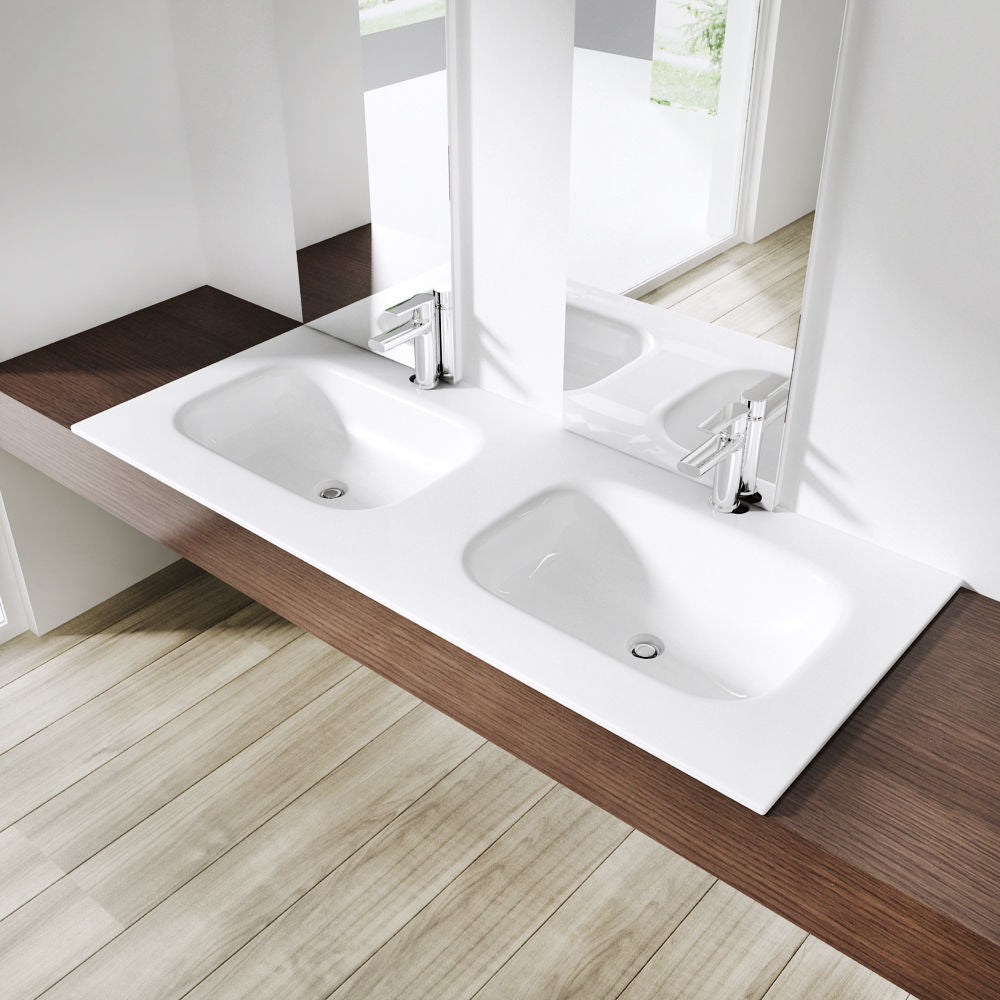 Durovin Dual Recessed Basins With Two Tap Holes