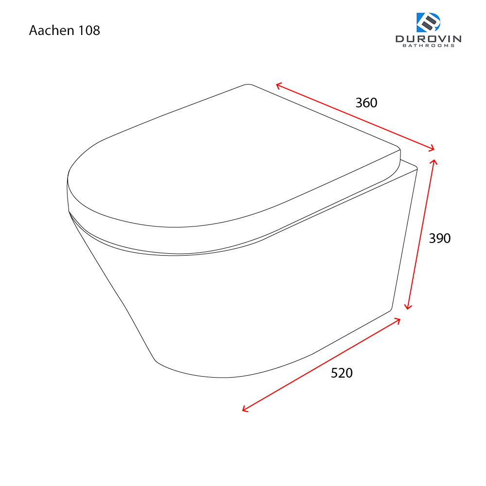 Durovin Aachen 108 Wall Hung Toilet Pan Width 360mm Depth 520mm Height 390mm