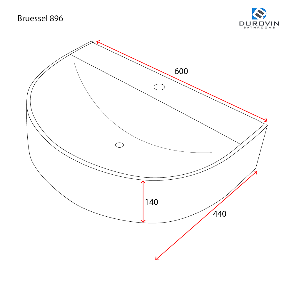 Bruessel 896 600mm x 440mm technical dimensions