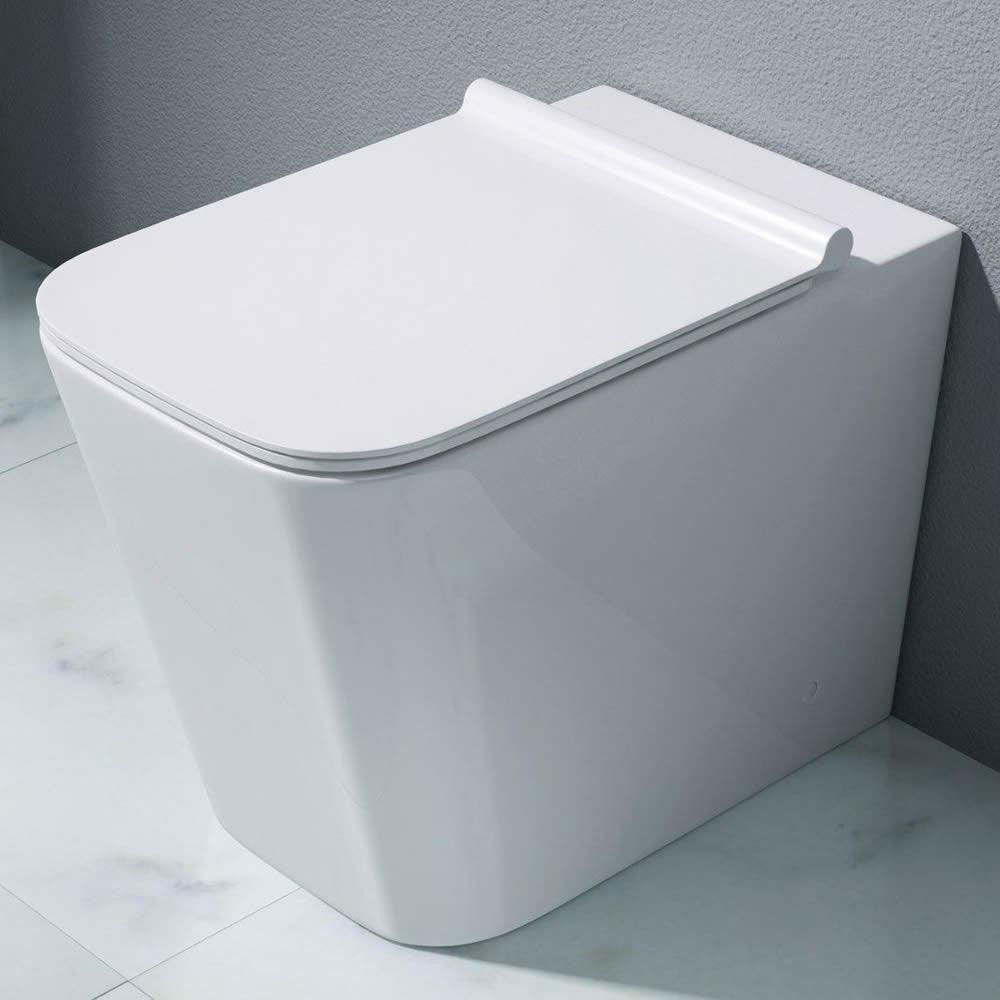 Durovin Bathrooms White Ceramic Square Back To Wall Toilet Pan with Slimline Seat