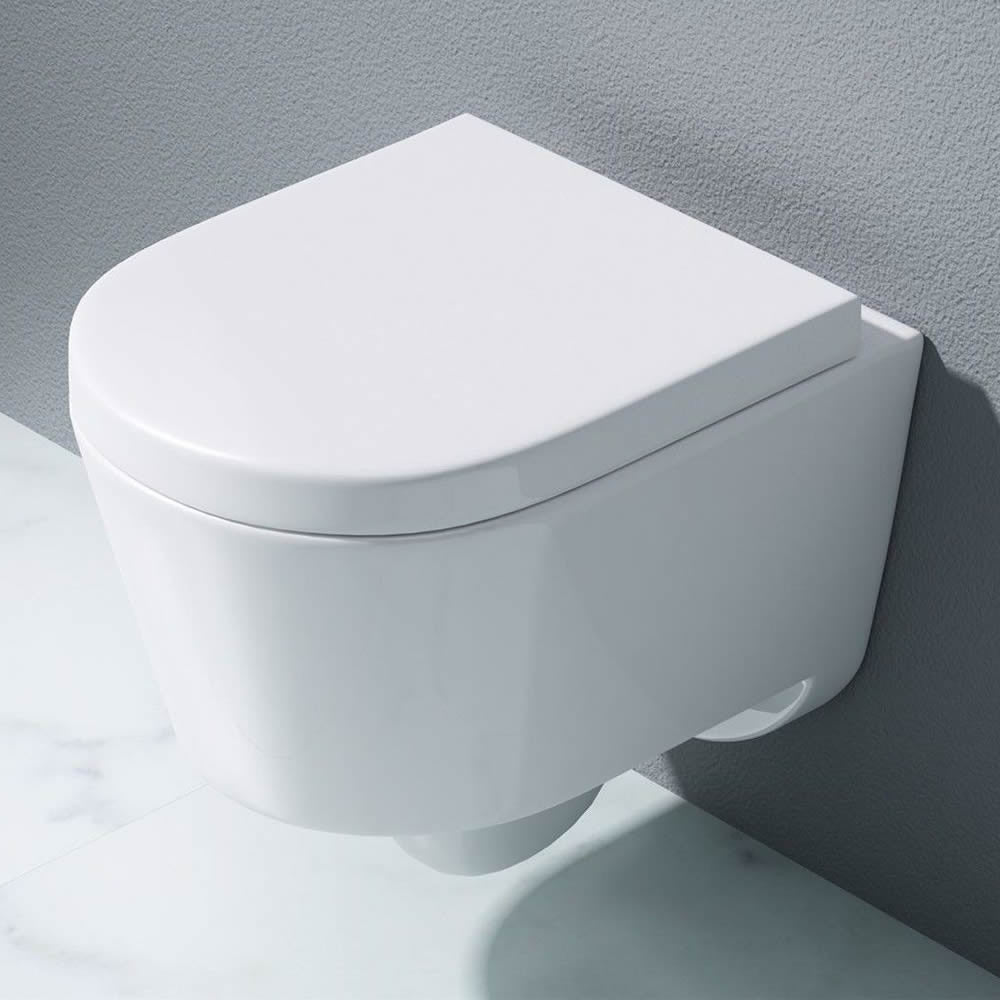 Durovin Bathrooms White Ceramic D Shaped Wall Hung Toilet Pan with Soft Close Seat