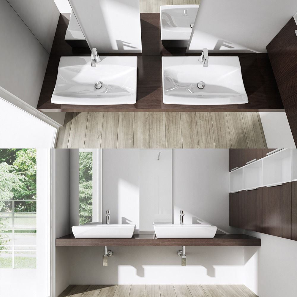 Bruessel 152B basin sink, mr and mrs style pair. White glossy finish one tap hole.