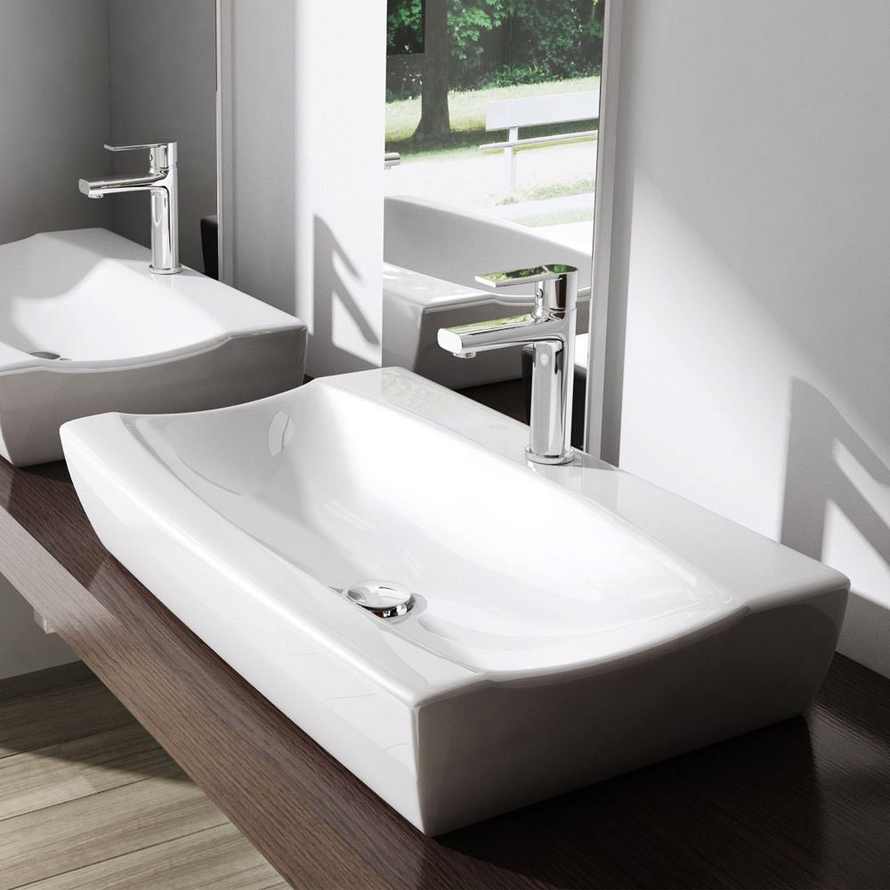 Durovin Bathrooms Bruessel 152B ceramic basin, easy to install deep fill design one tap hole.
