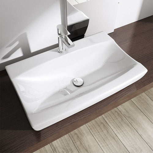 Cloakroom White Ceramic Counter Top Shallow Fill Basin 485 x 320mm | Bruessel 152B