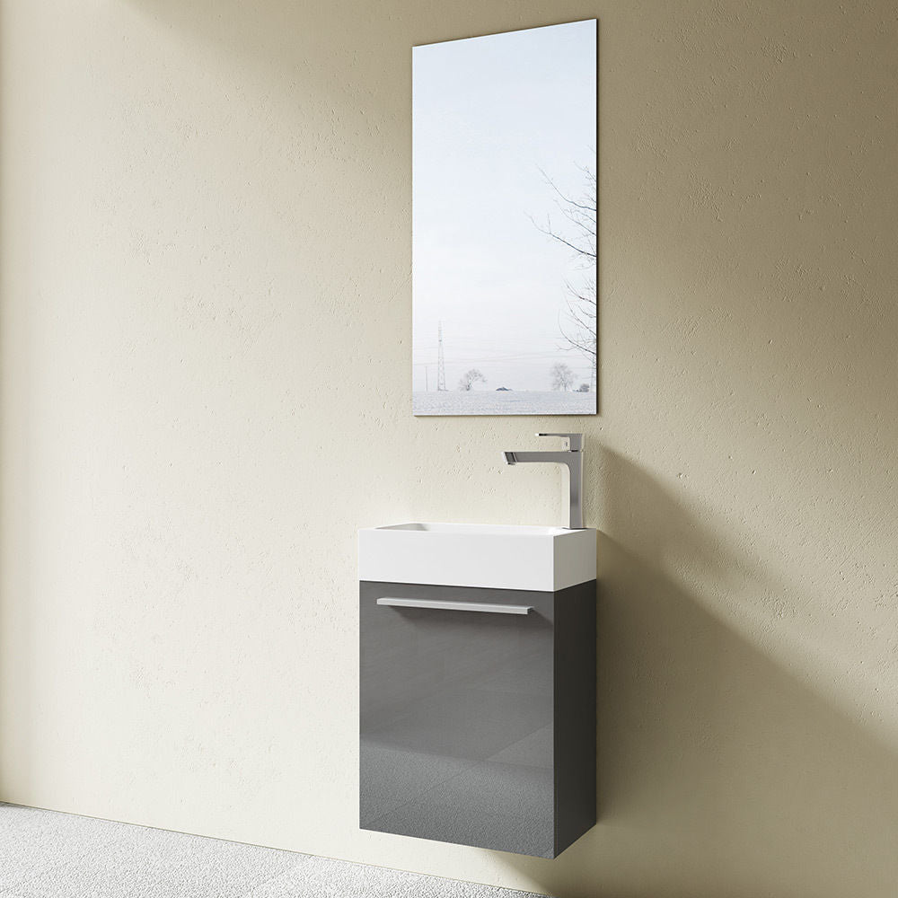 Pisa Cloakroom Wall Mounted Vanity Unit With Basin With Miror