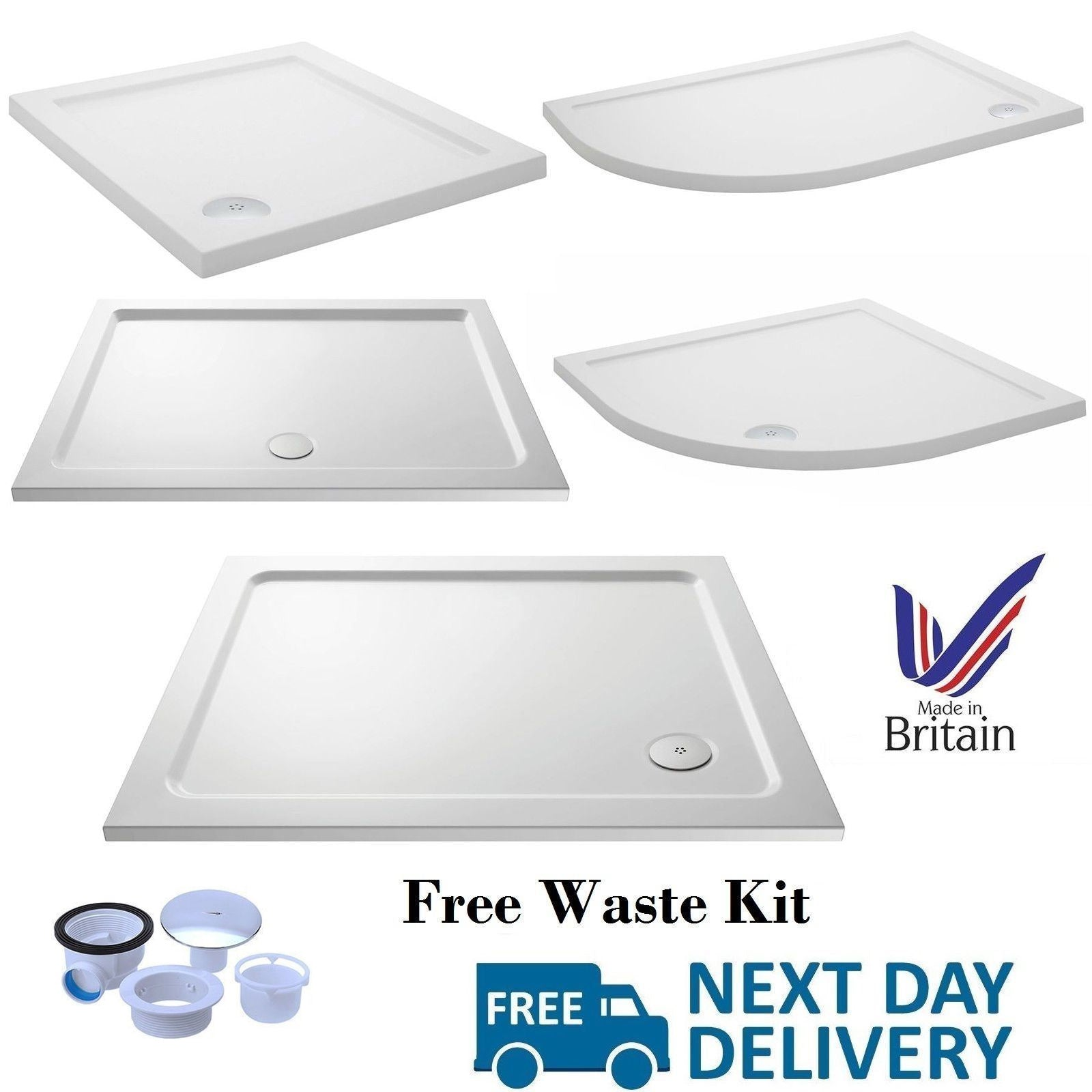 Stone shower tray range, free waste kit included