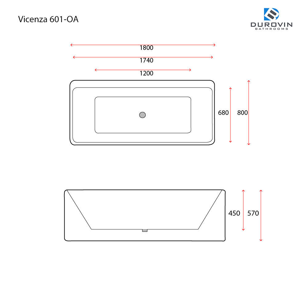 Vicenza 601-OA technical dimensions