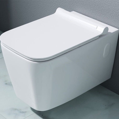 Aachen 107 Wall Hung Gloss White Ceramic Toilet (C43)