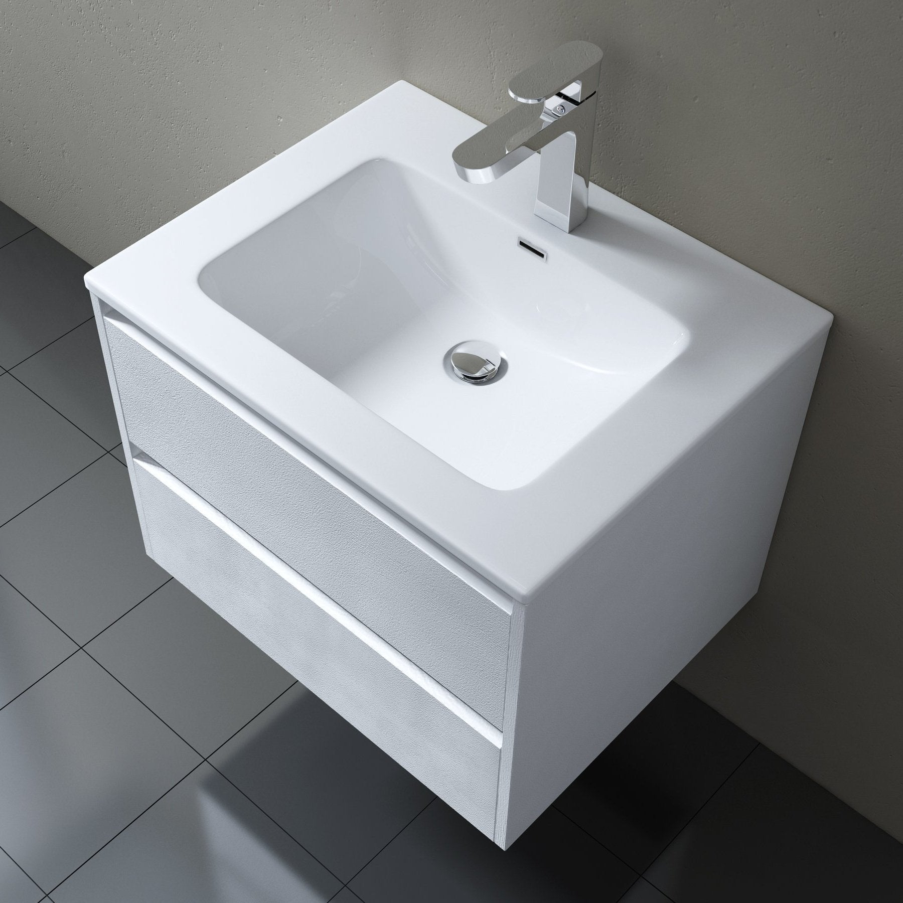 Positano Wall Mounted Vanity Unit With Basin White Gloss