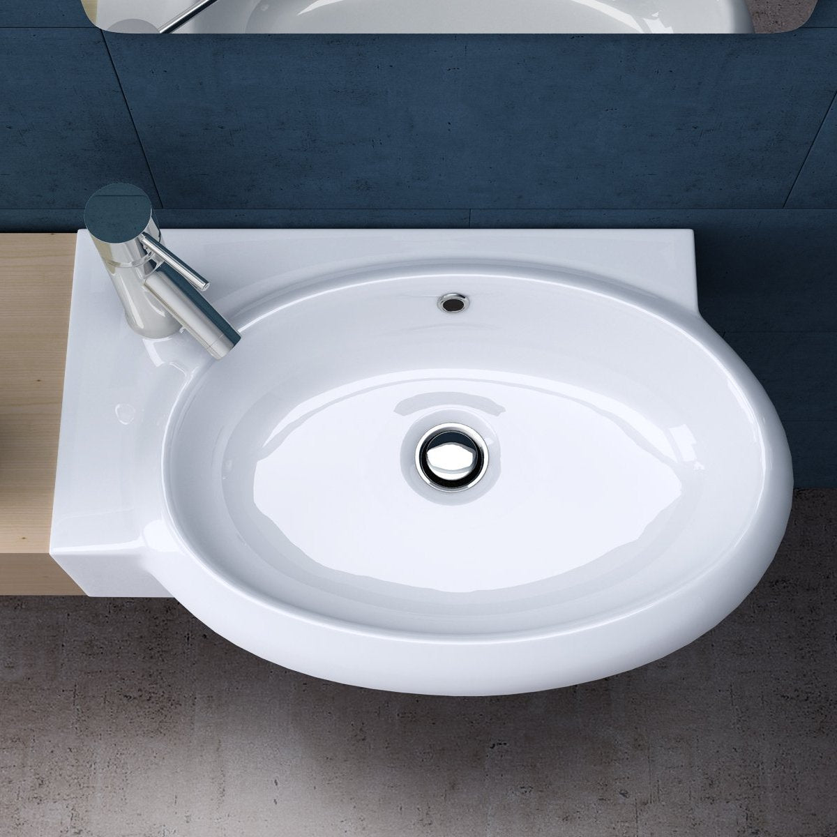 Bruessel 3052R modern ceramic white gloss basin, left tap hole.