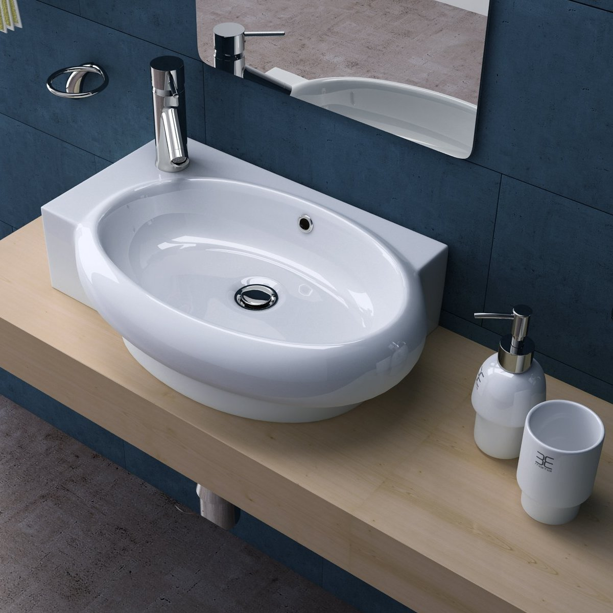 Bruessel 3052R modern ceramic oval basin, left tap hole.