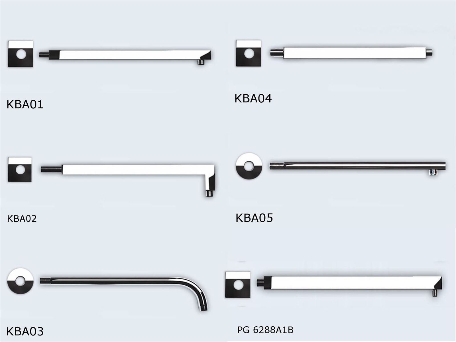 Durovin Modern Shower Head Arm Range Round and Square
