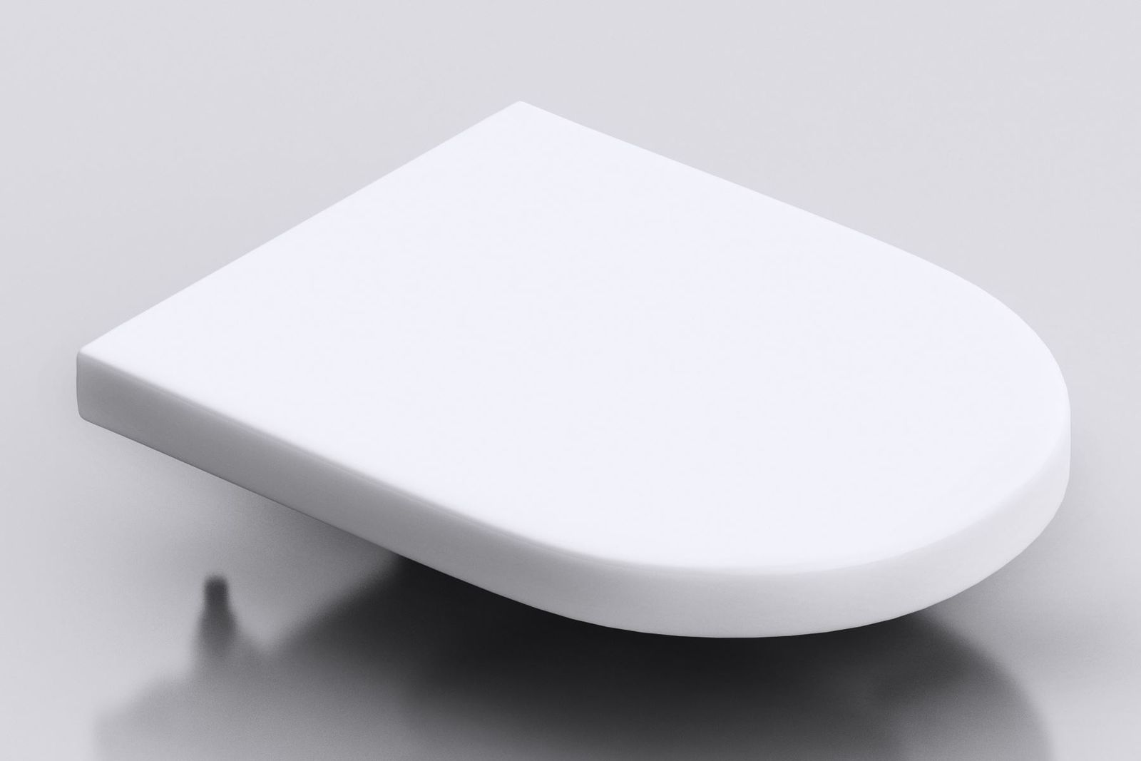 PP-010 White Gloss Glazed D Shape Toilet Seat