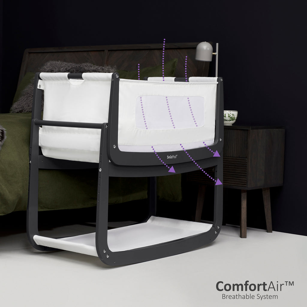 SnuzPod4 Bedside Crib - Slate Cot Bed - The Baby Service