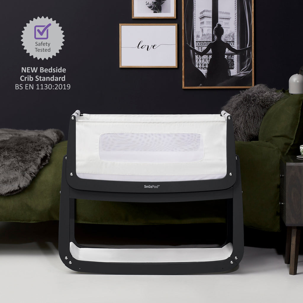 SnuzPod4 Bedside Crib - Slate Bedroom Cot - The Baby Service