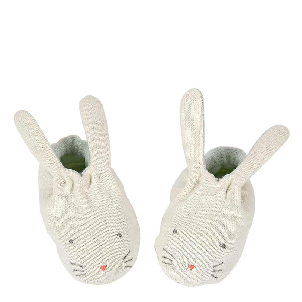 Meri Meri Mint Bunny Baby Booties Cute Gifts - The Baby Service
