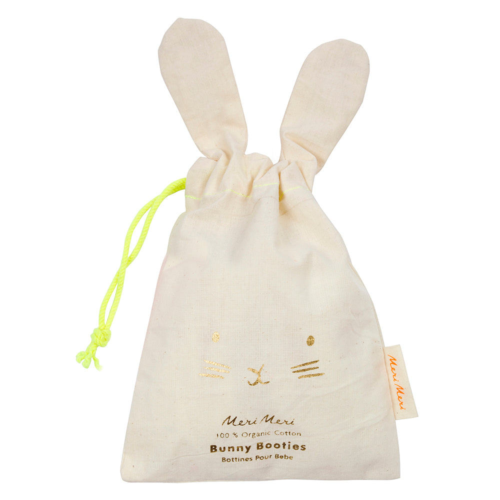 Meri Meri Mint Bunny Baby Booties - Drawstring Bag The Baby Service