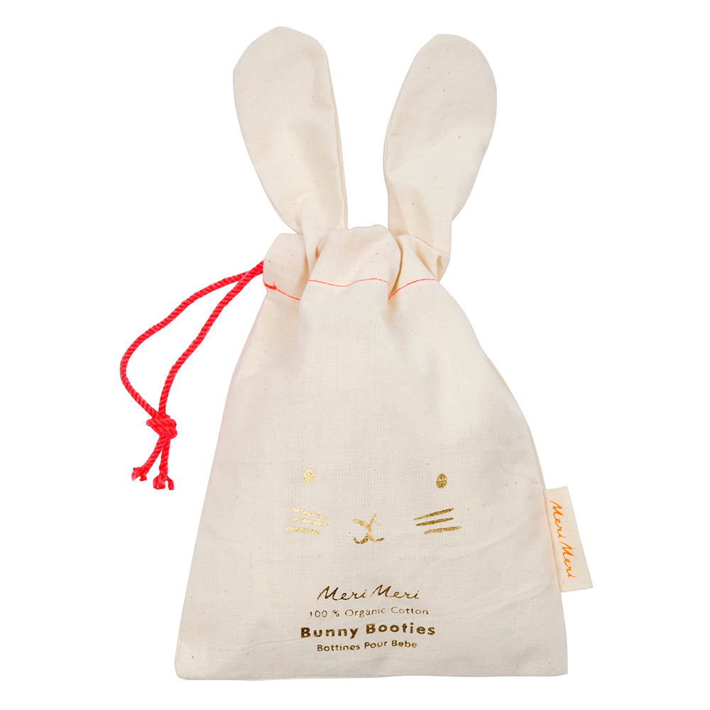Meri Meri Peach Bunny Baby Booties - Drawstring Bag - The Baby Service