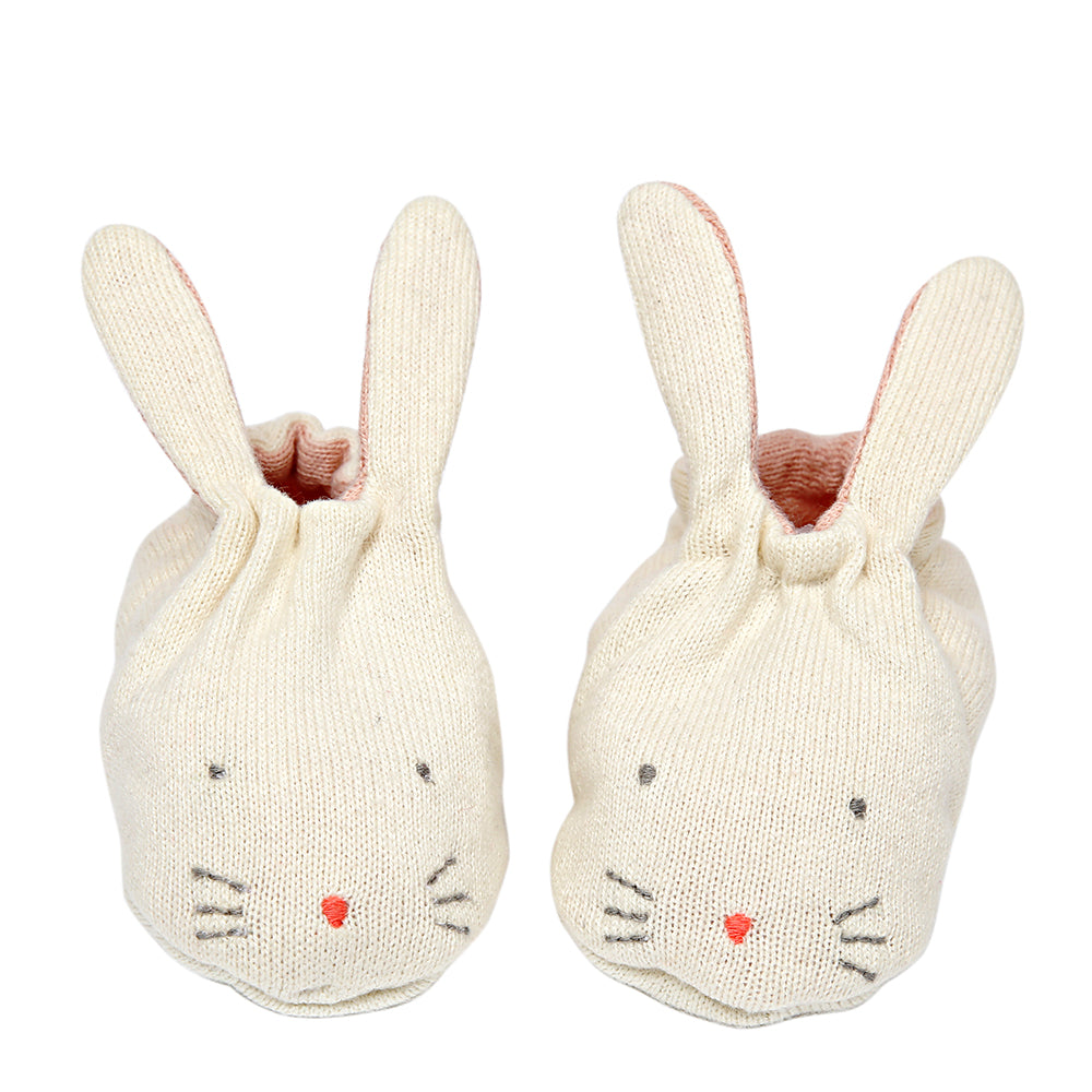 Meri Meri Peach Bunny Baby Booties - The Baby Service