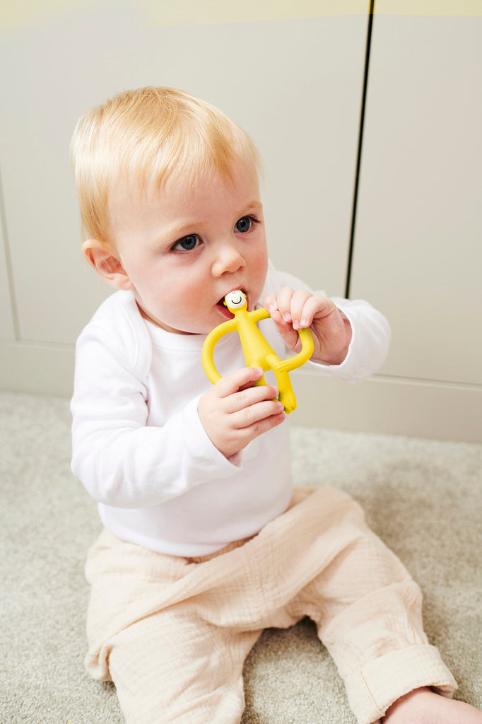 Matchstick Monkey Teething Toy and Gel Applicator - Yellow - The Baby Service - Lifestyle