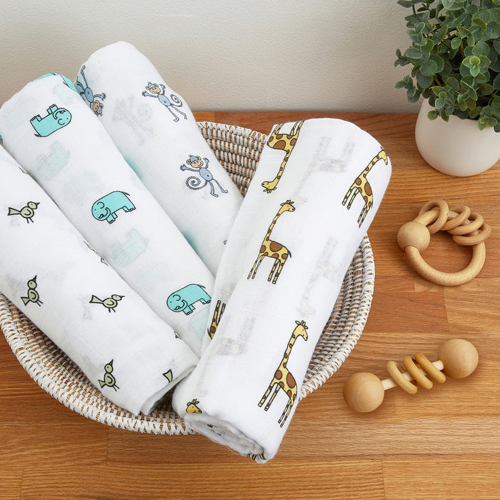 Aden + Anais Jungle Jam Swaddles 4 Pack - The Baby Service