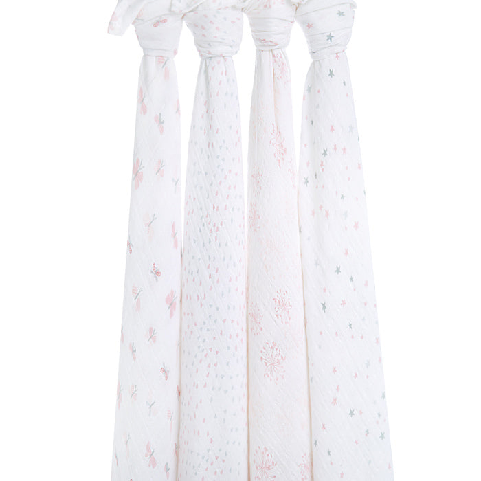 Aden and Anais Pink White Baby New Born Swaddle Pack of 4