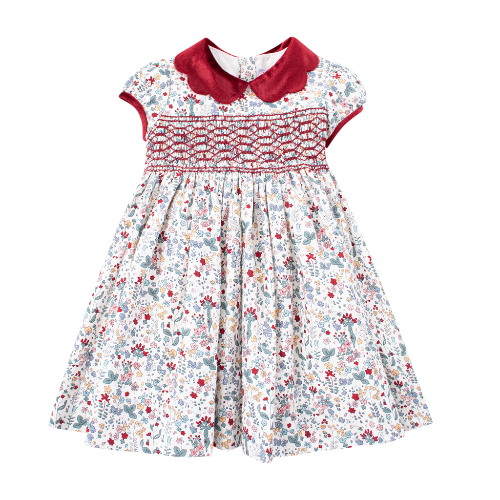 Kidiwi - Red & Green Floral Smocked Dress - Girls Clothing - The Baby Service
