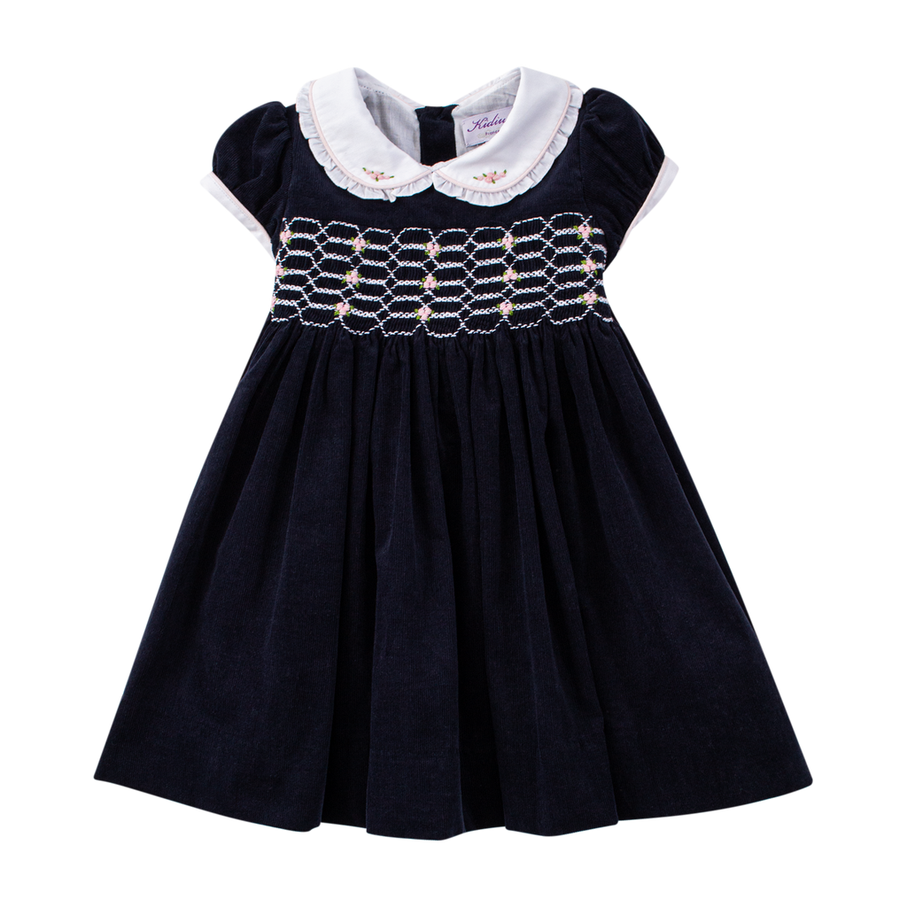 Kidiwi - Girls Navy Blue Smocked Dress - The Baby Service
