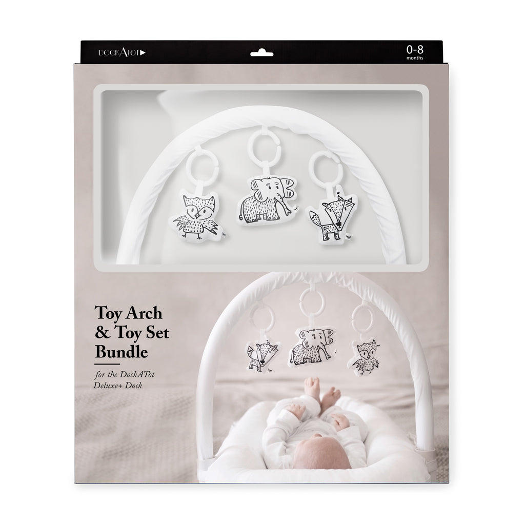 DockATot Baby Mobile Toy Bar White and Cheeky Chums Bundle Set Sleepyhead - Packaging