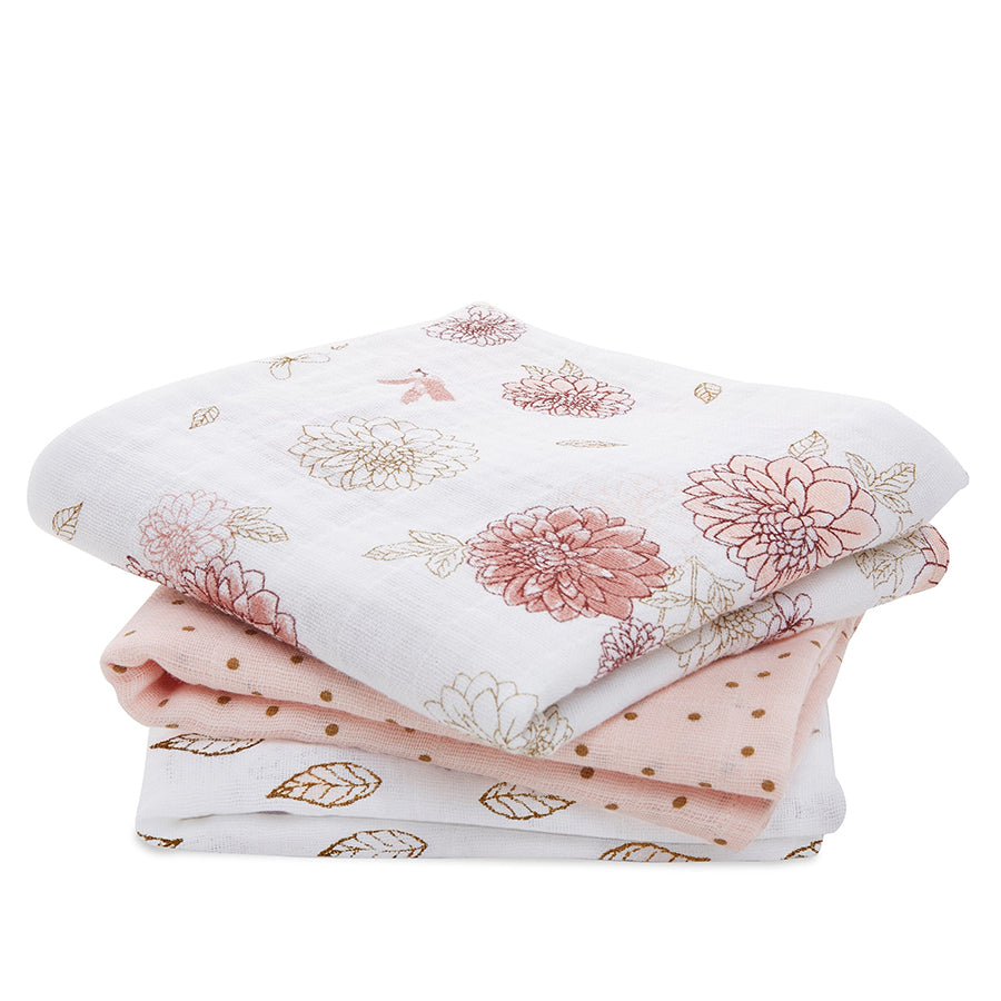Aden + Anais Dahlias Musy Muslin Squares 3 Pack - Gifts - The Baby Service