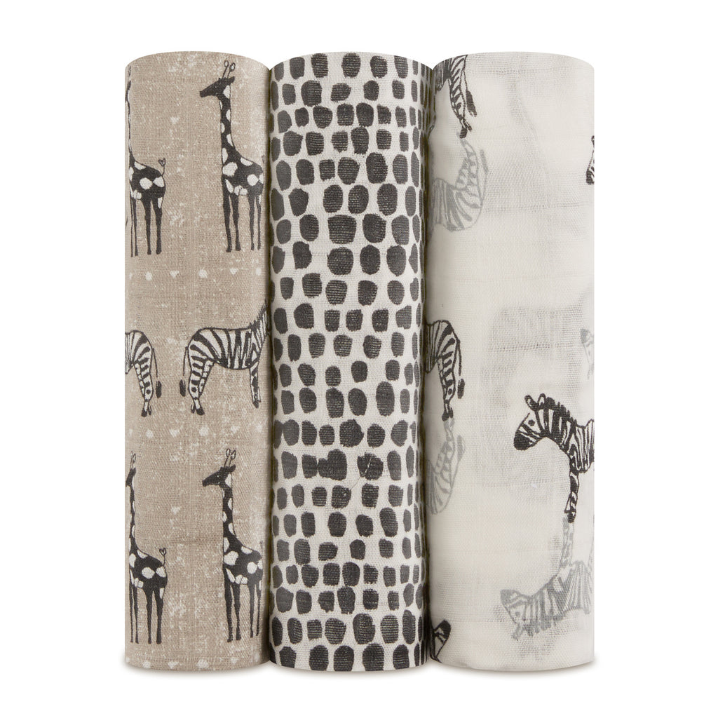 Aden Anais Safari Pack of 3 Swaddle Muslin Cloth Baby Gift Set - The Baby Service