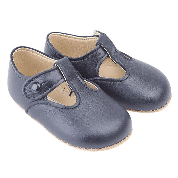 Baby Wedding Outfit Blue Soft Leather Pram Shoes