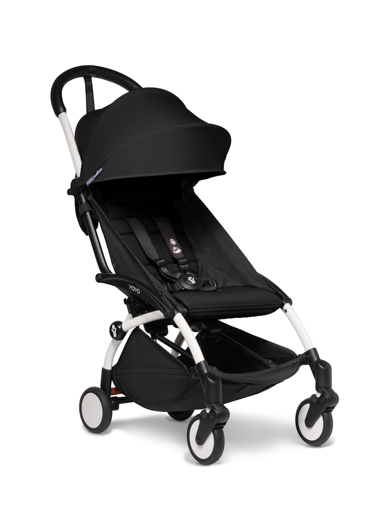BABYZEN YOYO² Stroller - Black with White Frame - Pushchairs - The Baby Service