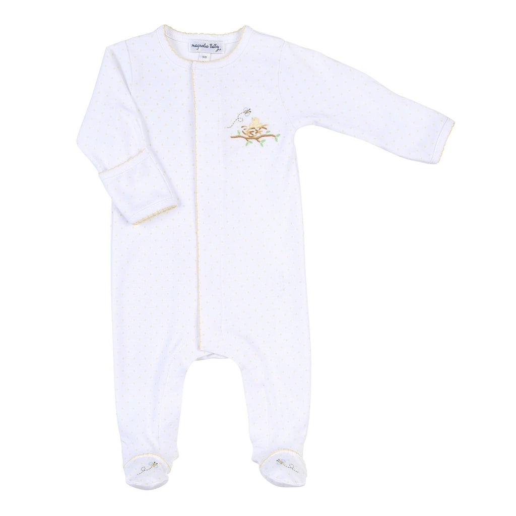 Magnolia Baby Pima Cotton Baby Bird Footie Babygrows - The Baby Service