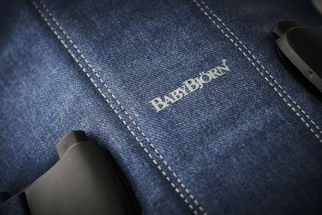 BabyBjorn Baby Carrier One - Classic Denim / Midnight Blue Cotton Mix - The Baby Service - Close Up