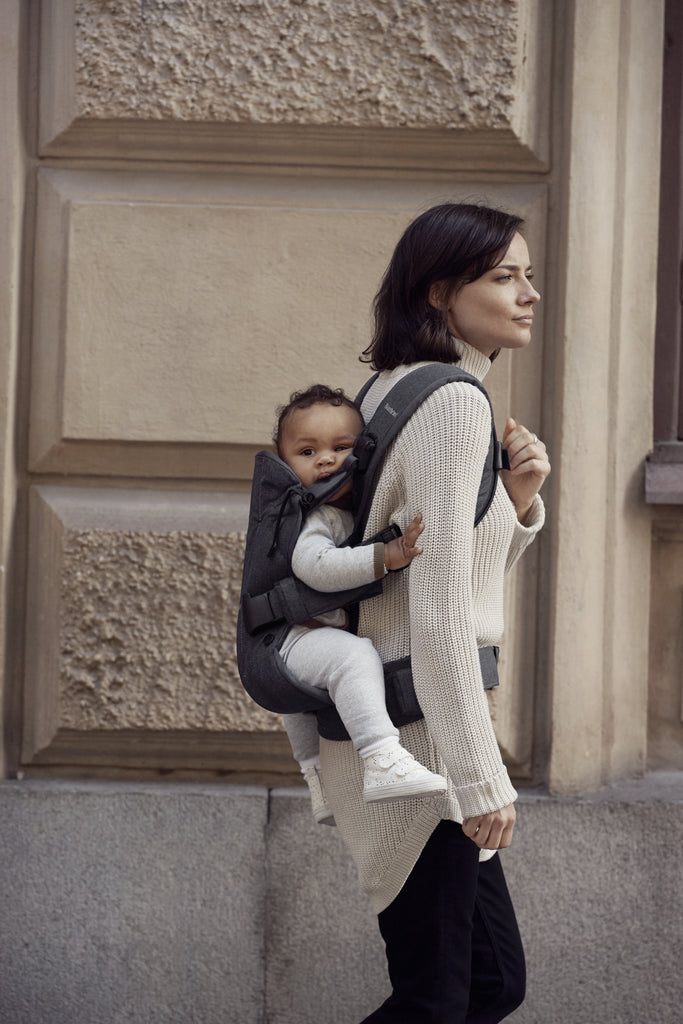 BabyBjorn Baby Carrier One - Denim Grey / Dark Grey Cotton Mix - Back Wearing - The Baby Service