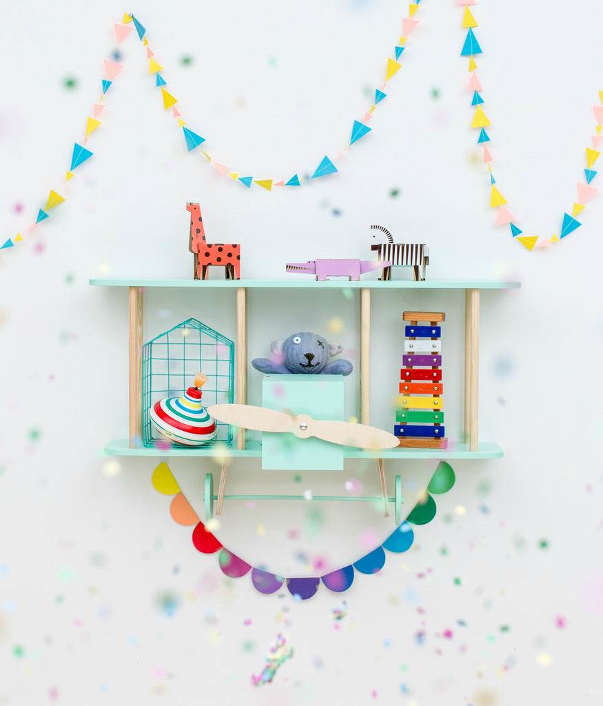 Bi-Plane Dashy Shelf - Mint Green  - The Baby Service - Playroom Ideas