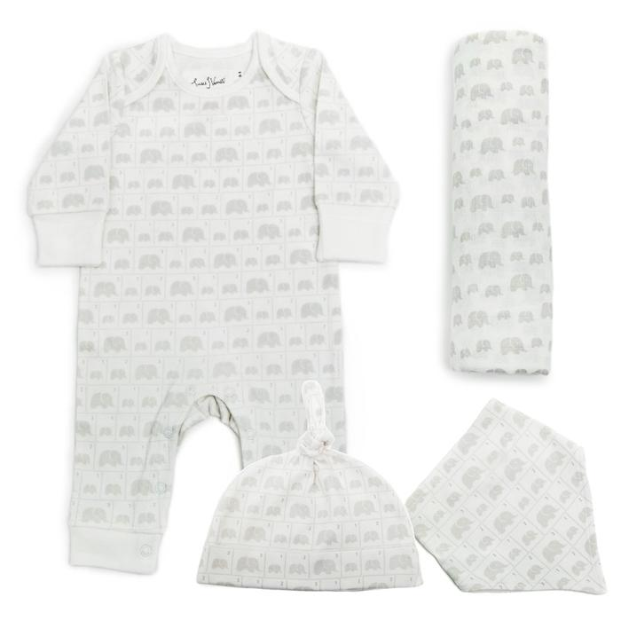 From Babies With Love Elephant Family Gift Set Pouch Jumbo - Baby Grow Bib & Hat