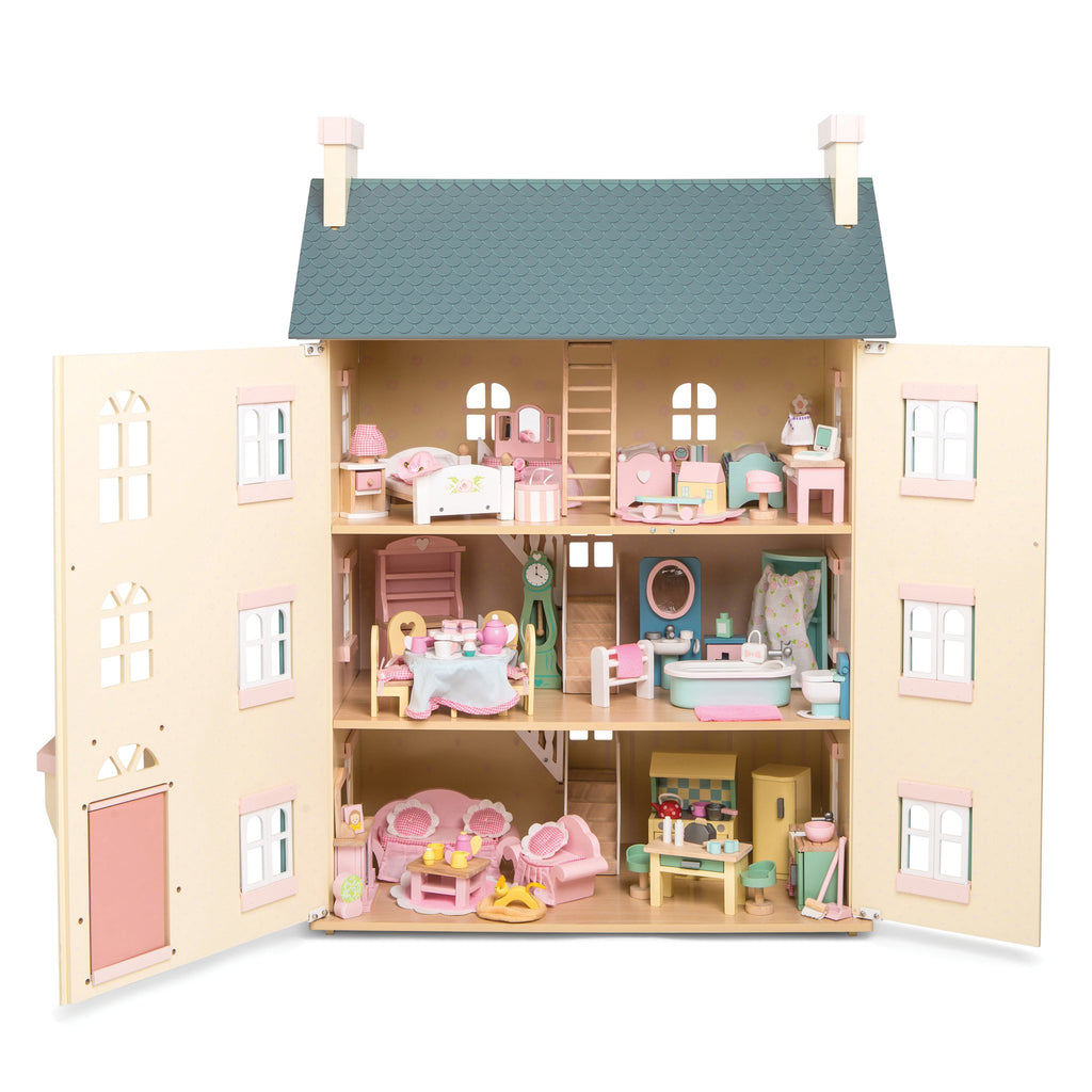 Le Toy Van Cherry Tree Hall Dolls House Set with Furniture Set Included