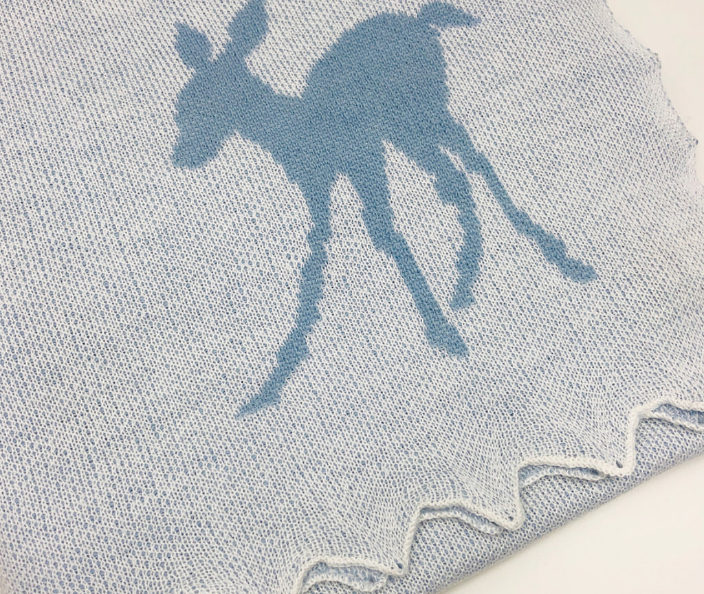Baby Blue Royal Fawn GH Gurt & Son Christening Merino Wool Blanket