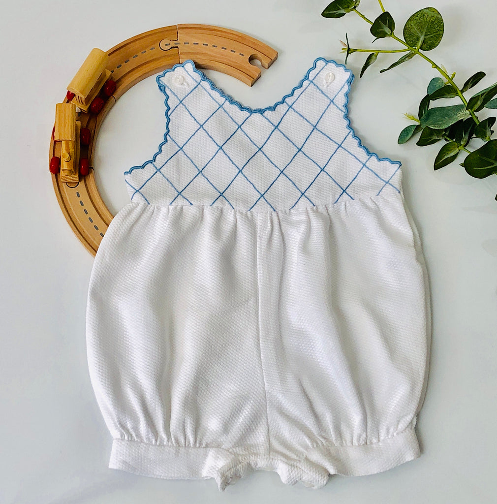 Piaro Baby Hand Embroidered Blue Bubble Romper Classic Luxury Clothing