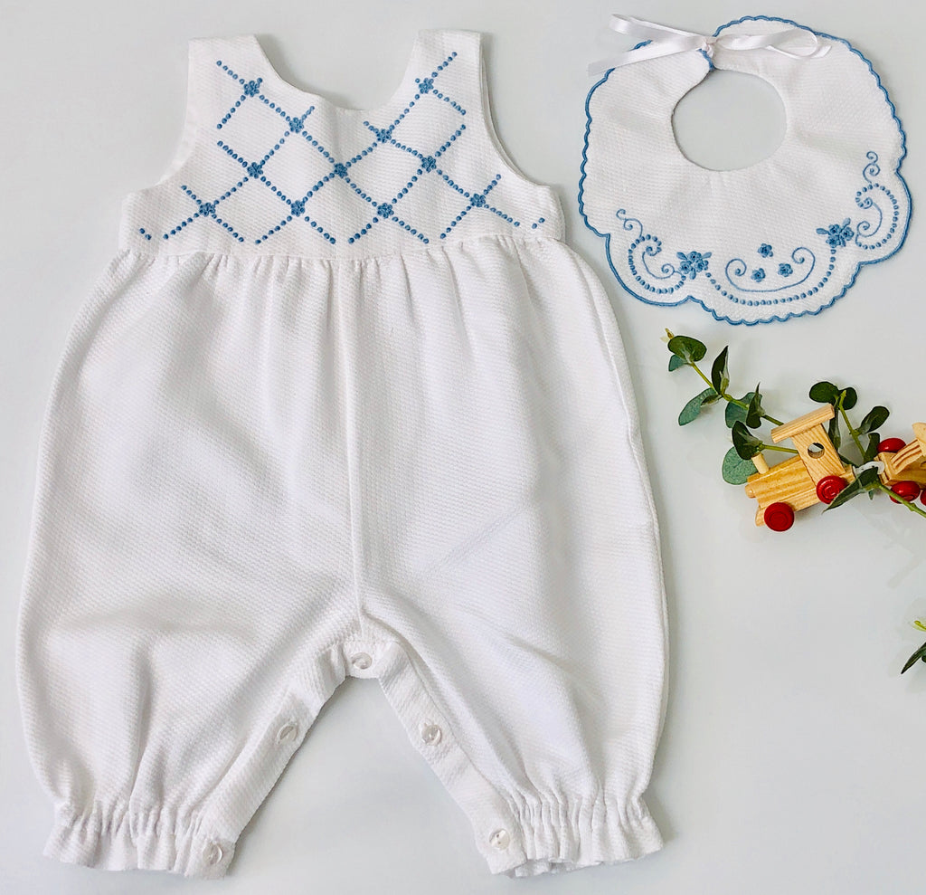 Piaro Baby Classic Hand Embroidered Traditional Romper in Blue Luxury Clothing Gifts