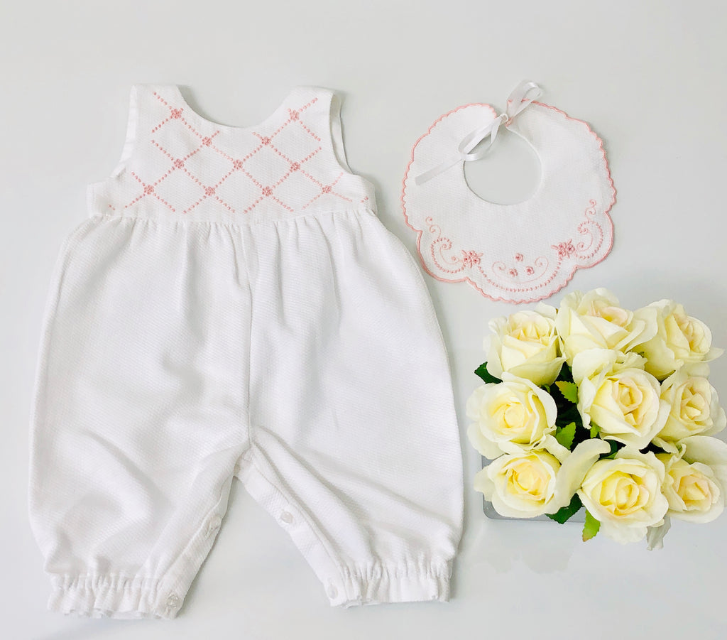 Piaro Baby Hand Embroidered Traditional Romper in Pink Luxury Clothes