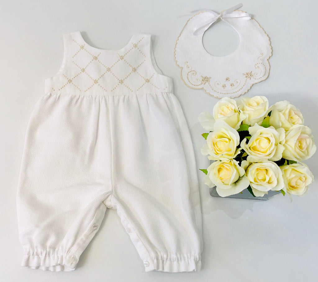 Piaro Baby New Born Christening Outfit Hand Embroidered Traditional Romper in Beige