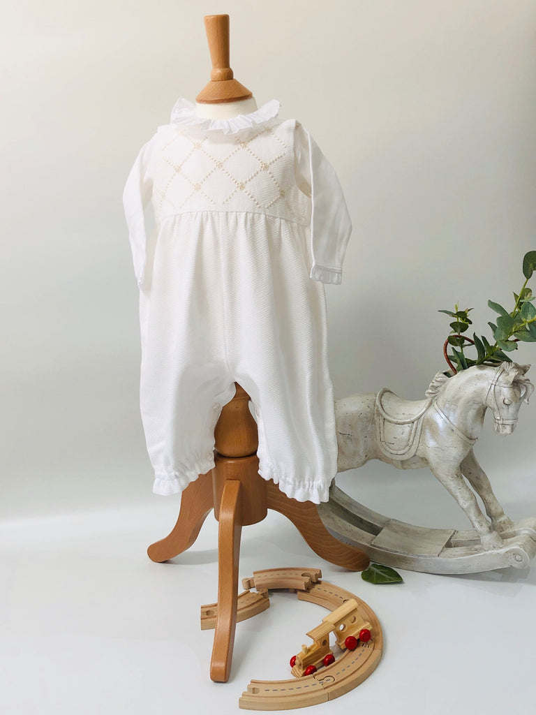 Piaro Baby Hand Embroidered Traditional Romper in Beige New Born Baby Luxury Clothing