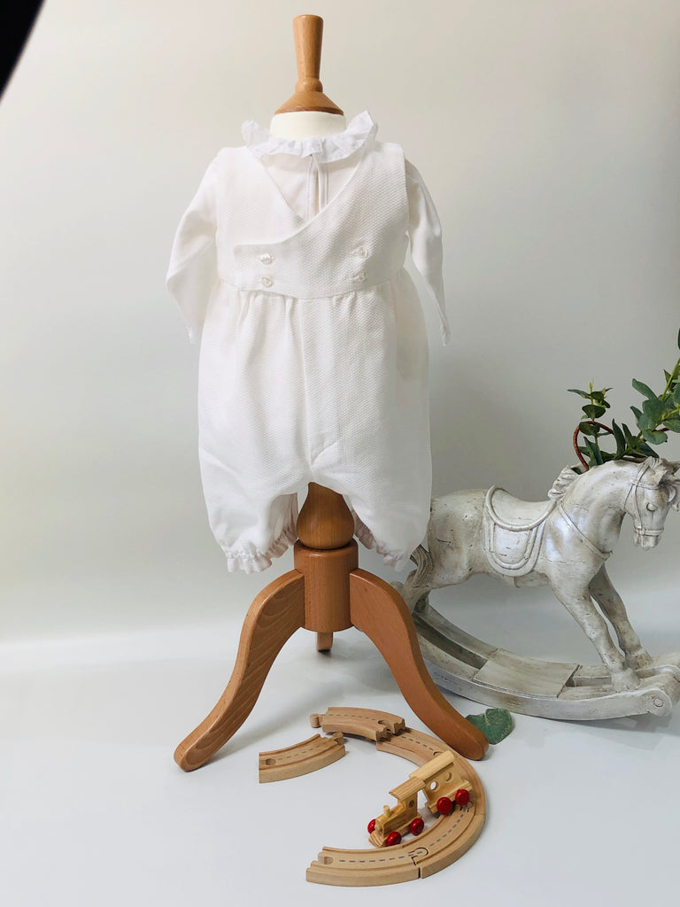 Hand Embroidered Traditional Romper in Beige