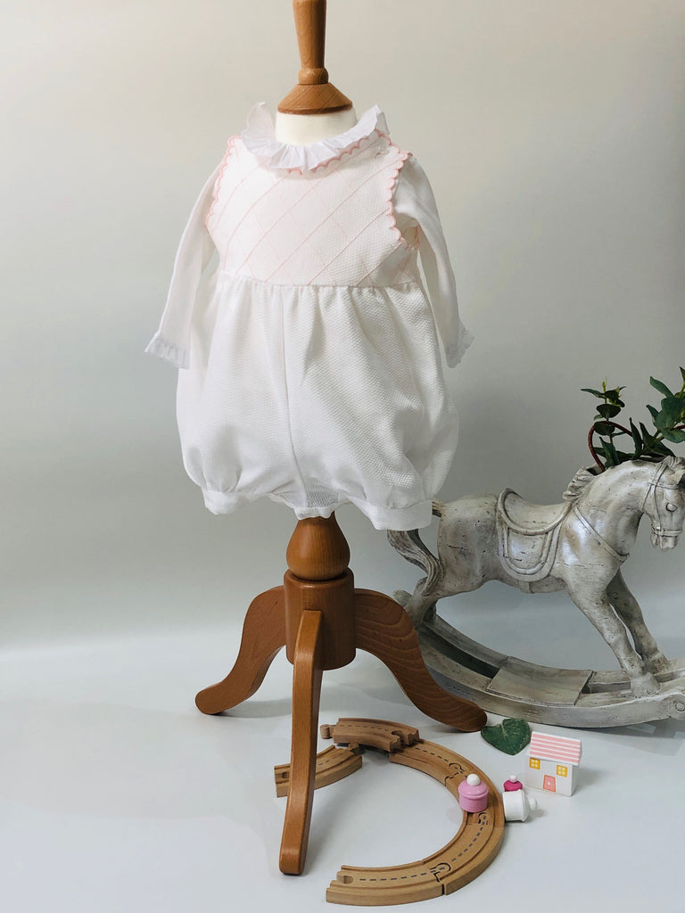 Piaro Baby Hand Embroidered Pink Bubble Romper Luxury Christening Clothes