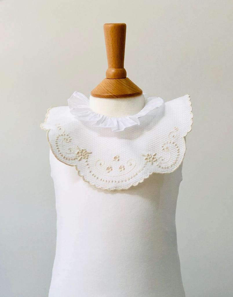 Piaro New Born Luxury Baby Hand Embroidered Bib in Beige Gift Ideas