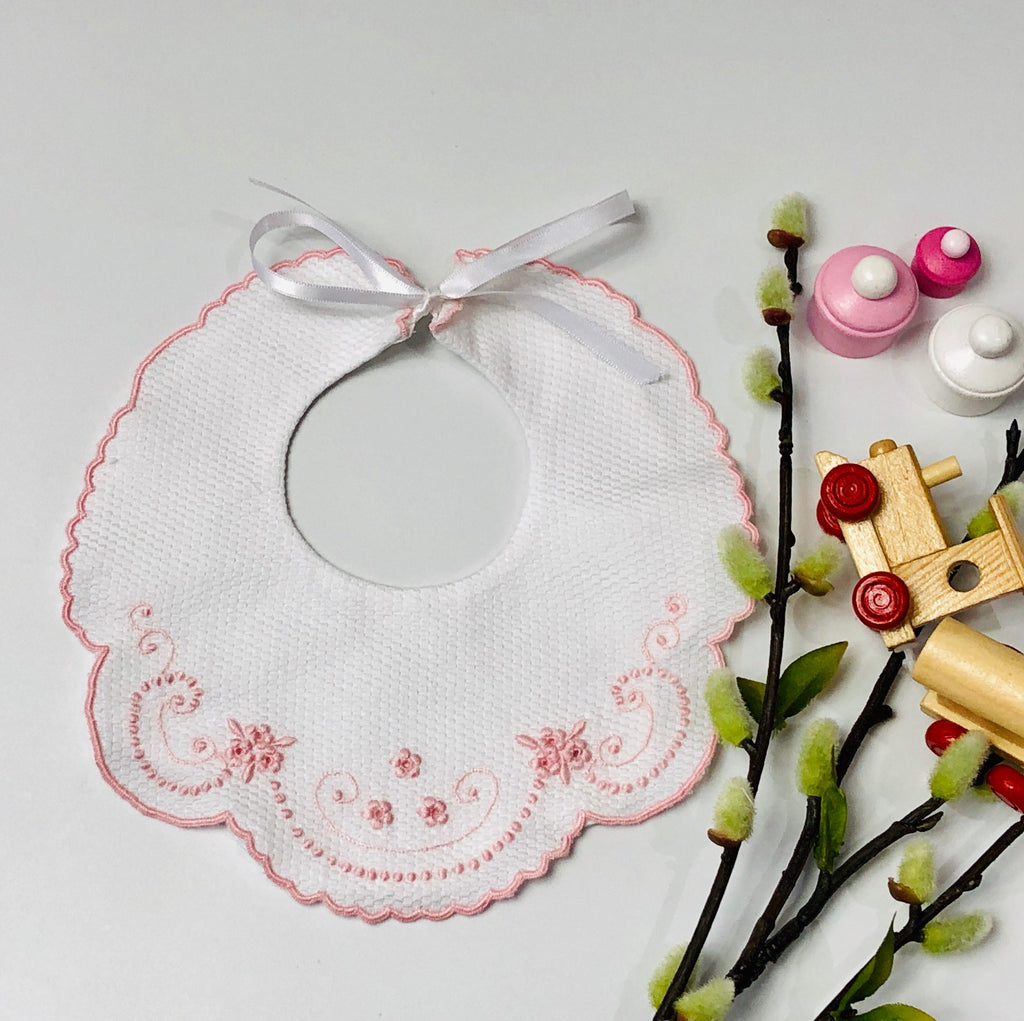 Hand Embroidered Bib in Pink